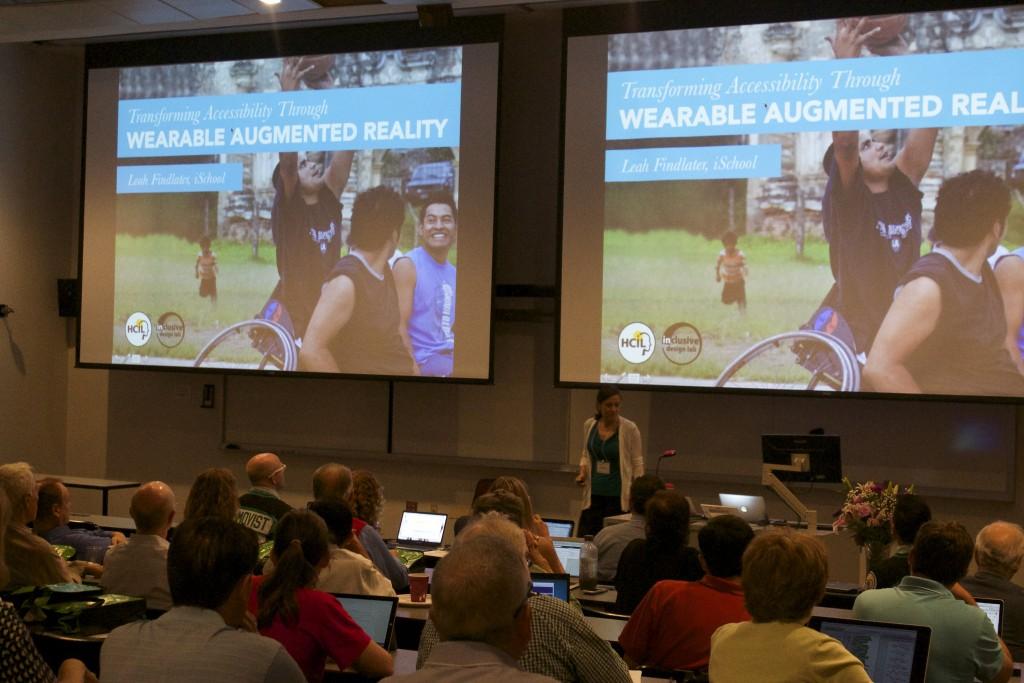 Leah Findlater presenting at HCIL Symposium 2015