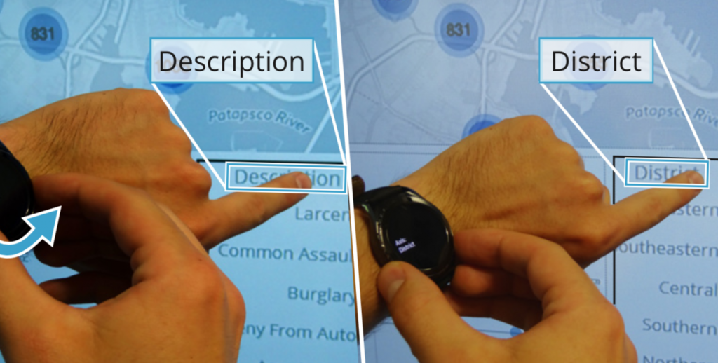 Figure shows user changing a visualization attribute on the large display using a smartwatch.