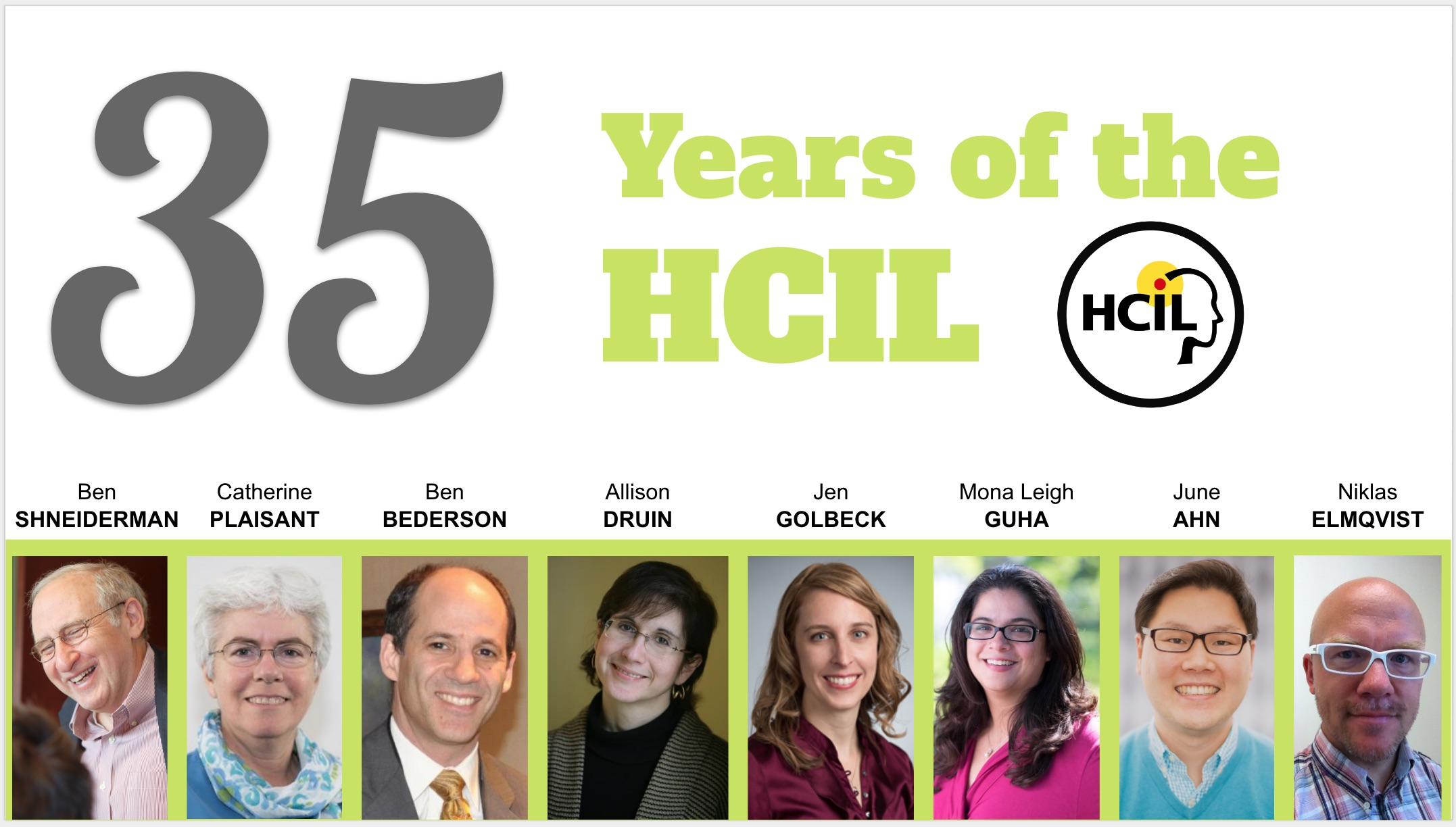 35 years of HCIL, and headshots of prominent faculty at HCIL