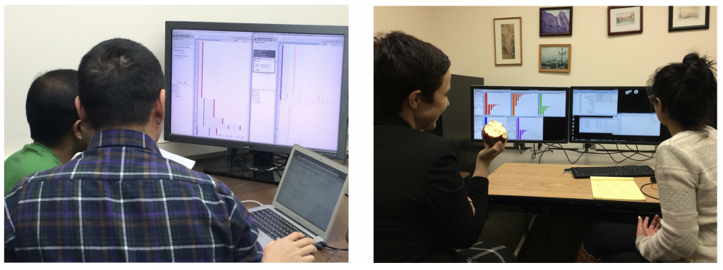 2 photos, each showing 2 users sitting in front of a computer, discussing a case study.